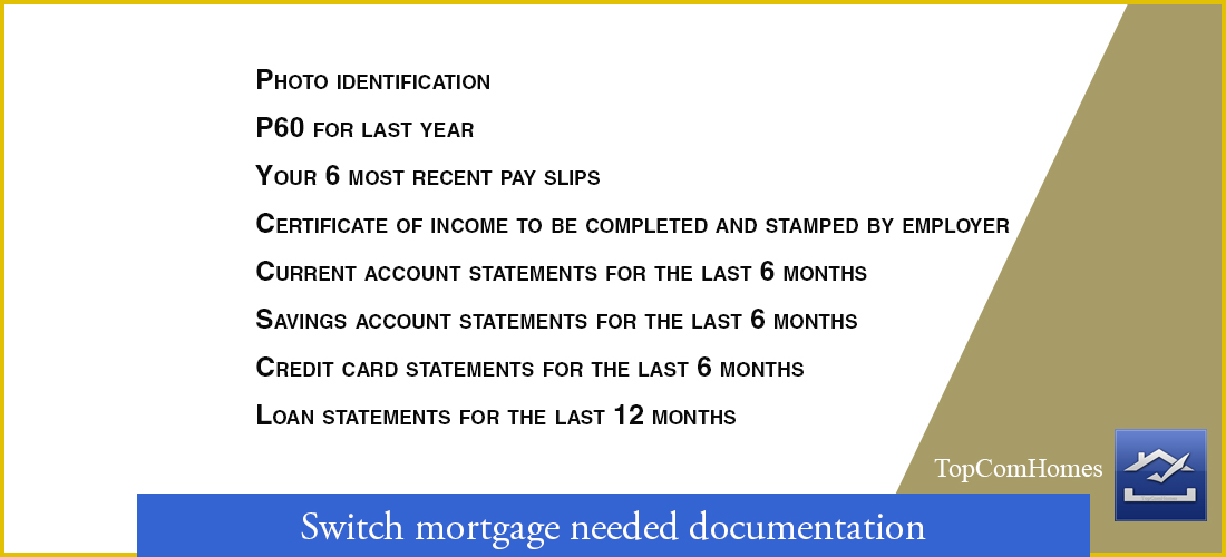 Switch mortgage needed documentation